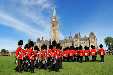 Ottawa, Canada - August 08, 2008: changing of the guard in front of the Parliament of Canada on Parliament Hill in Ottawa, Canada Editorial
