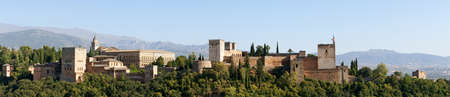 Panoramic view in the sunset light of the Alhambra in Granada, Spain     This file was not interpolated it is a photomerge of 6 different photos     photo