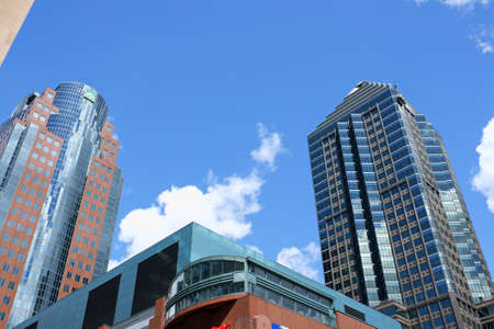 Montreal, Canada - July 28, 2008: glimpse of downtown Montreal and some modern skyscrapers: the 1501 McGill College, better known as La Tour McGill (on the right) and the Maison Astral (on the left). Stock Photo - 18017530