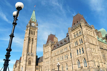 neo gothic: Canadian Parliament buildings on Parliament Hill in neo gothic style, detail of the Tower of Victory and Peace, better known as Peace Tower  Ottawa, Ontario, Canada Stock Photo