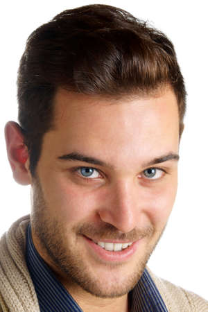 20 year old: Portrait of a smiling 20 year old young man with blue eyes, brown hair and beard over a white background