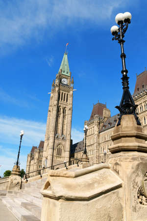neo gothic: Parliament of Canada on Parliament Hill in neo gothic style, with its Tower of Victory and Peace, better known as Peace Tower. Ottawa, Ontario, Canada