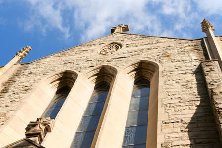 our: Ascension of our Lord church is a Catholic Parish in Gothic style at Westmount a suburb of Montreal, Quebec, Canada. Detail of the facade. Stock Photo
