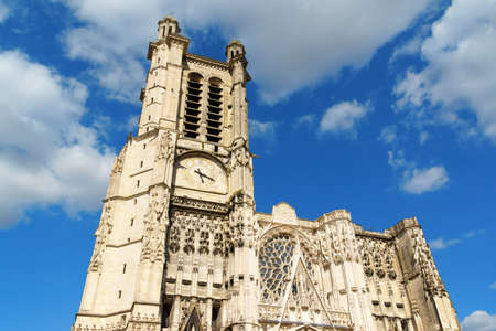 cathedrale: Troyes Cathedral (Cathedrale Saint-Pierre-et-Saint-Paul de Troyes) against a cloudy sky. The Gothic Cathedral was built starting from 11th century on the site of a previos romanesque one but it was never finished. The Cathedral has only one tower, the sec