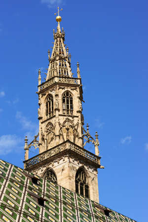 alto adige: The bell tower of the gothic Assumption of Our Lady Cathedral in Bolzano, Alto Adige, Italy