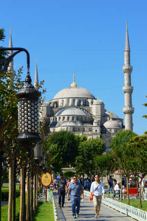 Istanbul, Turkey - July 20, 2015: Sultan Ahmet camii or Blue Mosque was built between 1597 and 1616 by architect Sedefkar Mehmet Aga for Sultan Ahmed the first. The Mosque was built in front of Hagia Sophia and its called Blue Mosque because its interio Editorial
