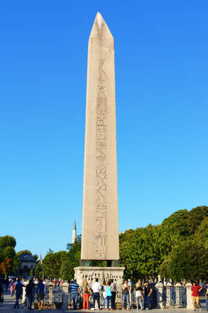 Istanbul, Turkey - July 19, 2015: the Obelisk of Theodosius was one of the two obelisks of Thutmose III at the entrance of the Great Temple of Karnak. Emperor Theodosius I took it off the temple, brought it to Constantinople and put it up on the spina of