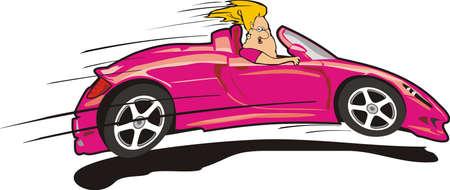 convertible car: controlador loco - Rosa sports car Vectores
