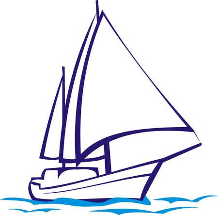 naval: yacht silhouette - sea voyage