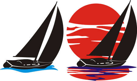 sailing yacht: yachts silhouette - under sail Illustration