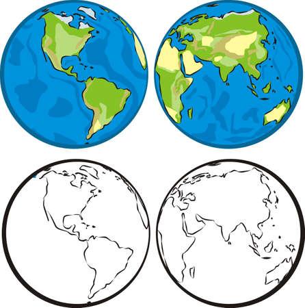 eastern & western hemisphere Illustration