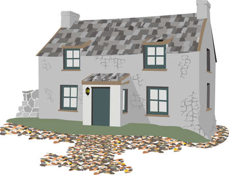 roof tiles: stone cottage - stonework