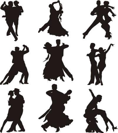 waltz: ballroom dancing - silhouette