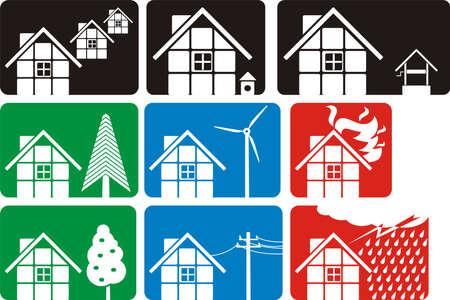 casa logo: casa - logo & silhouette Vettoriali