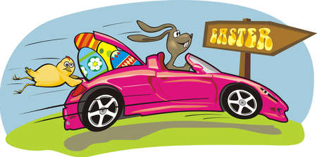 auto sign: loco conejo de Pascua Vectores