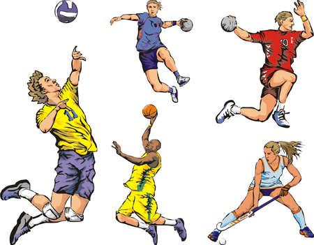 team effort: team sports figures - indoor Illustration