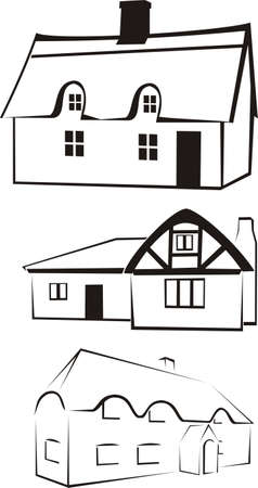 rural development: architecture - house silhouette & logo Illustration