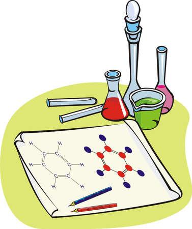 chemistry - chemical formula, benzene Vektoros illusztráció