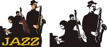 school band: jazz band - old school Illustration