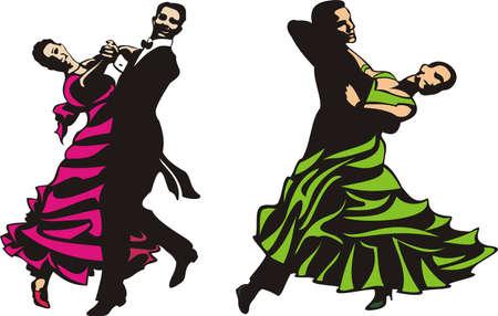pareja bailando: baile - est�ndar & baile latino Vectores