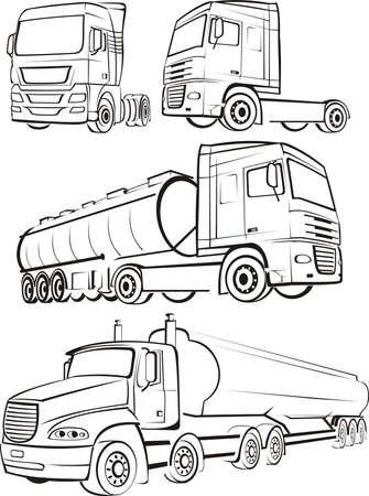 oil transportation: tir, truck, lorry - silhouette