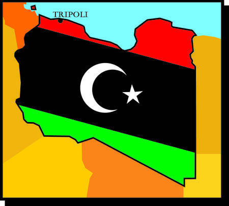 dictatorial: map of libya - flag of freedom
