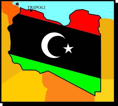 dictatorial: Mappa della Libia - bandiera della libert� Vettoriali