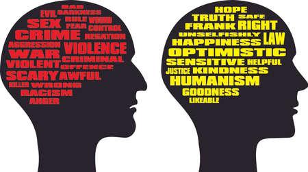 bondad: mente mala, hermosos mente Vectores