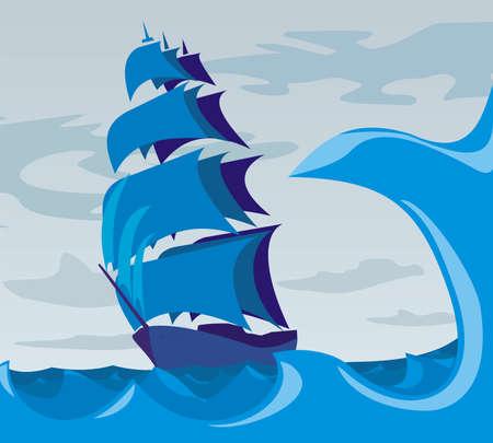 mare agitato: Sailer sul mare - spirito di avventura Vettoriali
