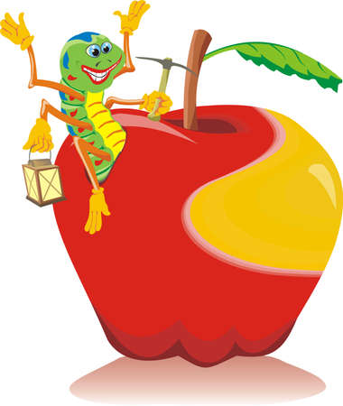 fruitful: happy worm - mature apple Illustration