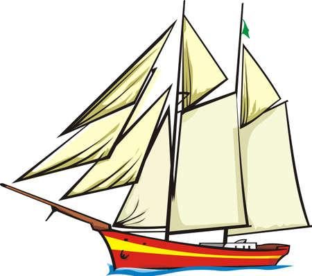 seaport: sailer - under full sail Illustration