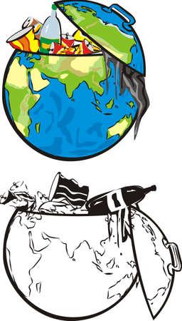 �garbage: la tierra basurero-hemisferio oriental Vectores