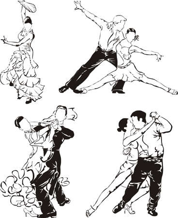 ballroom dancing - dancers silhouettes Illustration