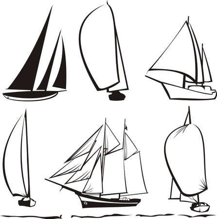 barca a vela: sagome di yacht