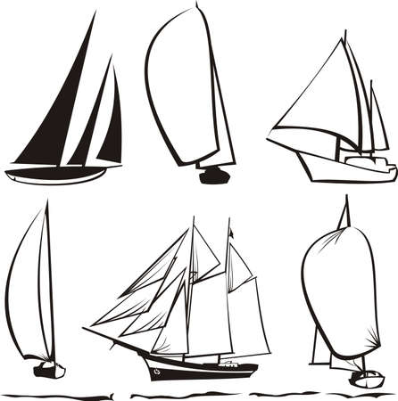 sailing: silhouettes of yachts