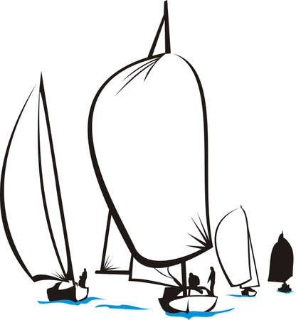 voile: r�gate - silhouette yacht