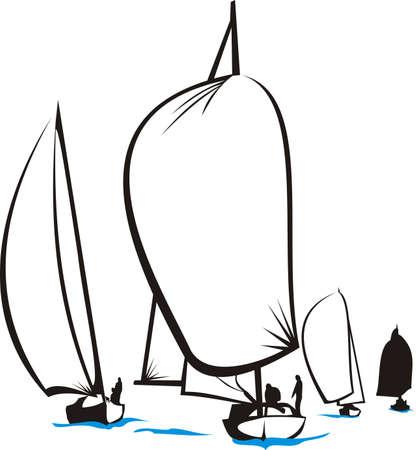 bateau voile: r�gate - silhouette yacht