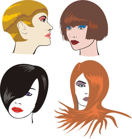 fashionably: women`s faces - make-up & hairdressing