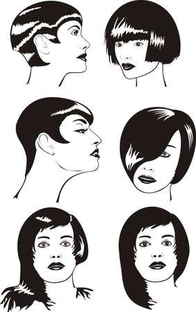 womens fashion: women`s faces - black & white Illustration