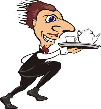 urgently: urgent waiter - serve the tea or coffee Illustration
