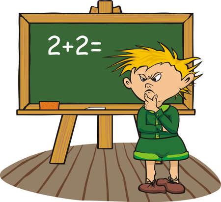 student thinking: thinking student - solve the task Illustration