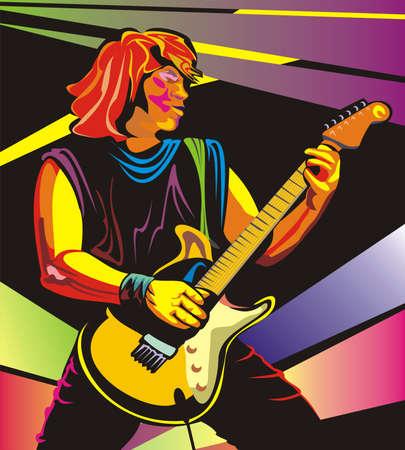 glam: guitarrista de arte pop Vectores