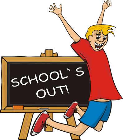 despedida: escuela fuera - salto de alegr�a Vectores