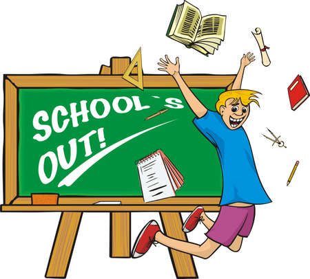 school`s out - jump for joy Vector