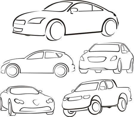 gear  speed: sagome di automobili Vettoriali