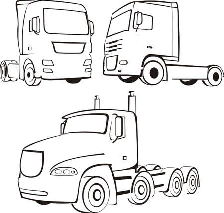 trucks and lorry silhouettes Illustration