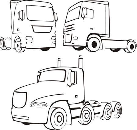 motorization: trucks and lorry silhouettes Illustration