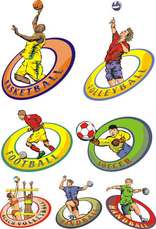 jump shot: team sports emblems Illustration