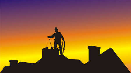 sweeping: working on the roof chimney sweep Illustration