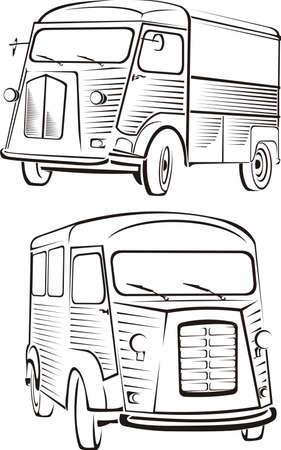 motorization: cult old van - old school design of automobile Illustration